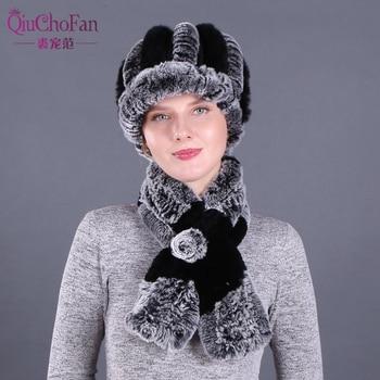 New Fashion Girl Fur Cap Lady Winter Natural Real Rex Rabbit Fur Hat Scarf Suite Quality Women 100% Genuine Fur Hat Muffler