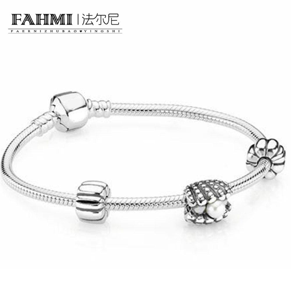 FAHMI 100% 925 argent Sterling 1:1 coquillage et perle Bracelet ensemble cadeau Original femmes Vintage bijoux livraison gratuite