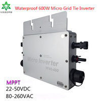 600W Waterproof Micro inverter Solar On Grid Tie Inverter Convertor MPPT Inversor 22 50VDC to 110V/220VAC For Home Solar Panels