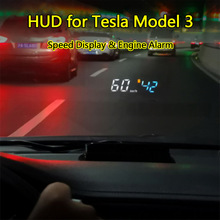 OBD2 Ii Hud Auto Display Voor Tesla Modle 3 Head-Up Display Hud Display Overspeed Waarschuwing Voorruit Projector Alarm systeem Auto