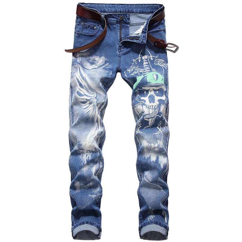 Mcikkny Men's Fashion Hip Hop Jean 3D Skull Printed Denim Trousers Male Streetwear Pants Stretch