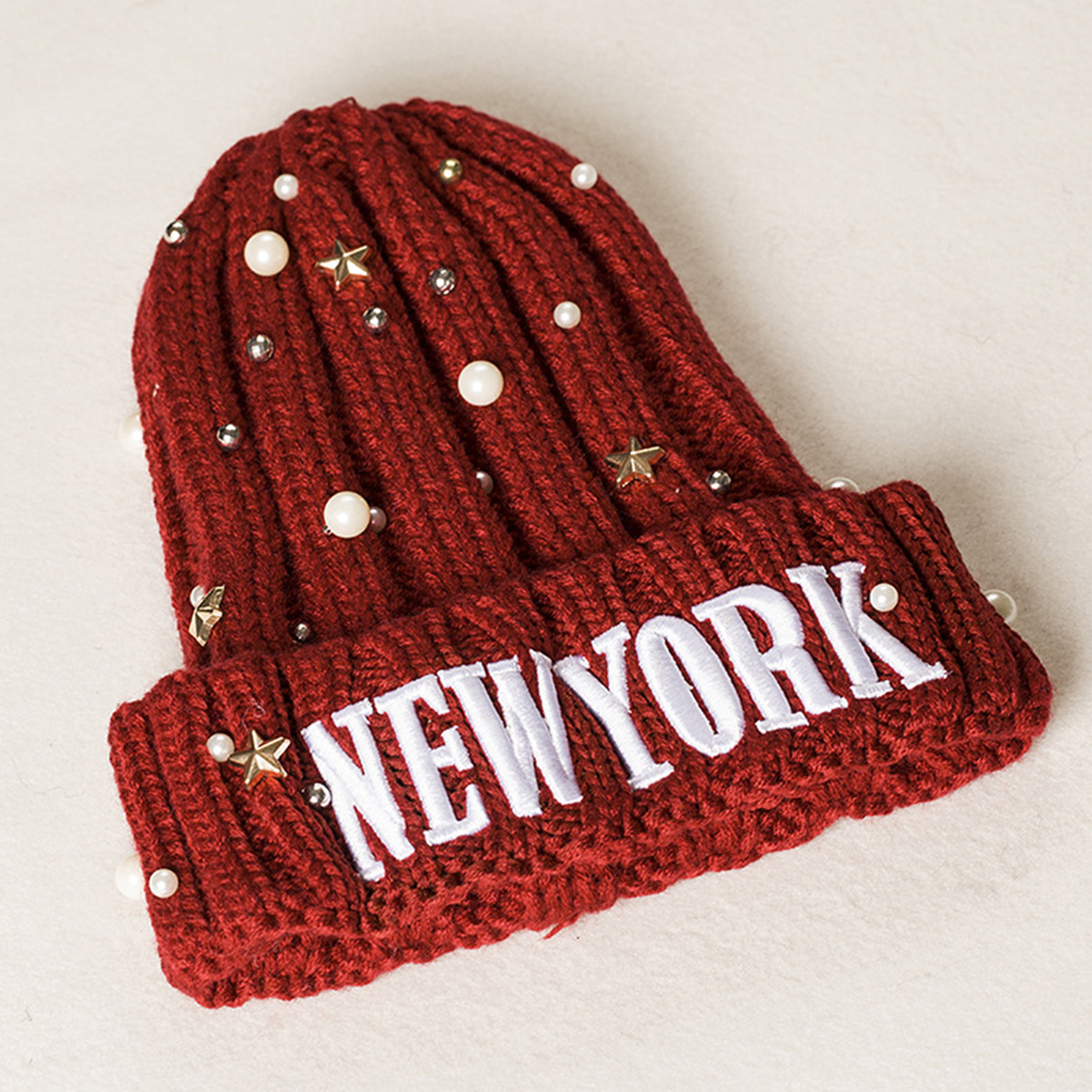 Adult Skull Cap Beanie New York Knitted Hat Headwear Winter Warm Hip-hop Hat