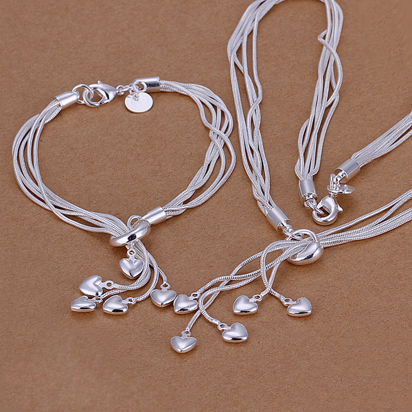 QiLeSen925 Sterling Silver 100% Girl Ladies Fine Necklace Bracelet Popular Jewelry Ladies Gift Set Bride Christmas Gift S009