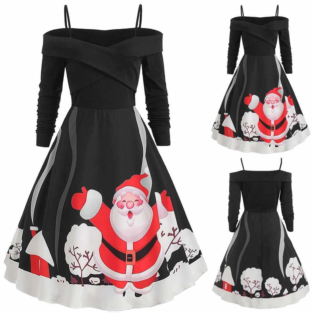 2019 אופנה נשים של החג שמח שמלת חג המולד הדפסת שמלת קלע Off-כתף רוכסן הפבורן מסיבת שמלת Vestidos