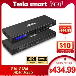 DHL Бесплатная доставка Tesla Smart 4K2K High Quality HDMI Matrix  8x8 с RS232/LAN 2 шт. 1U Ultra HD 4 к Full HD 1080 P 3D