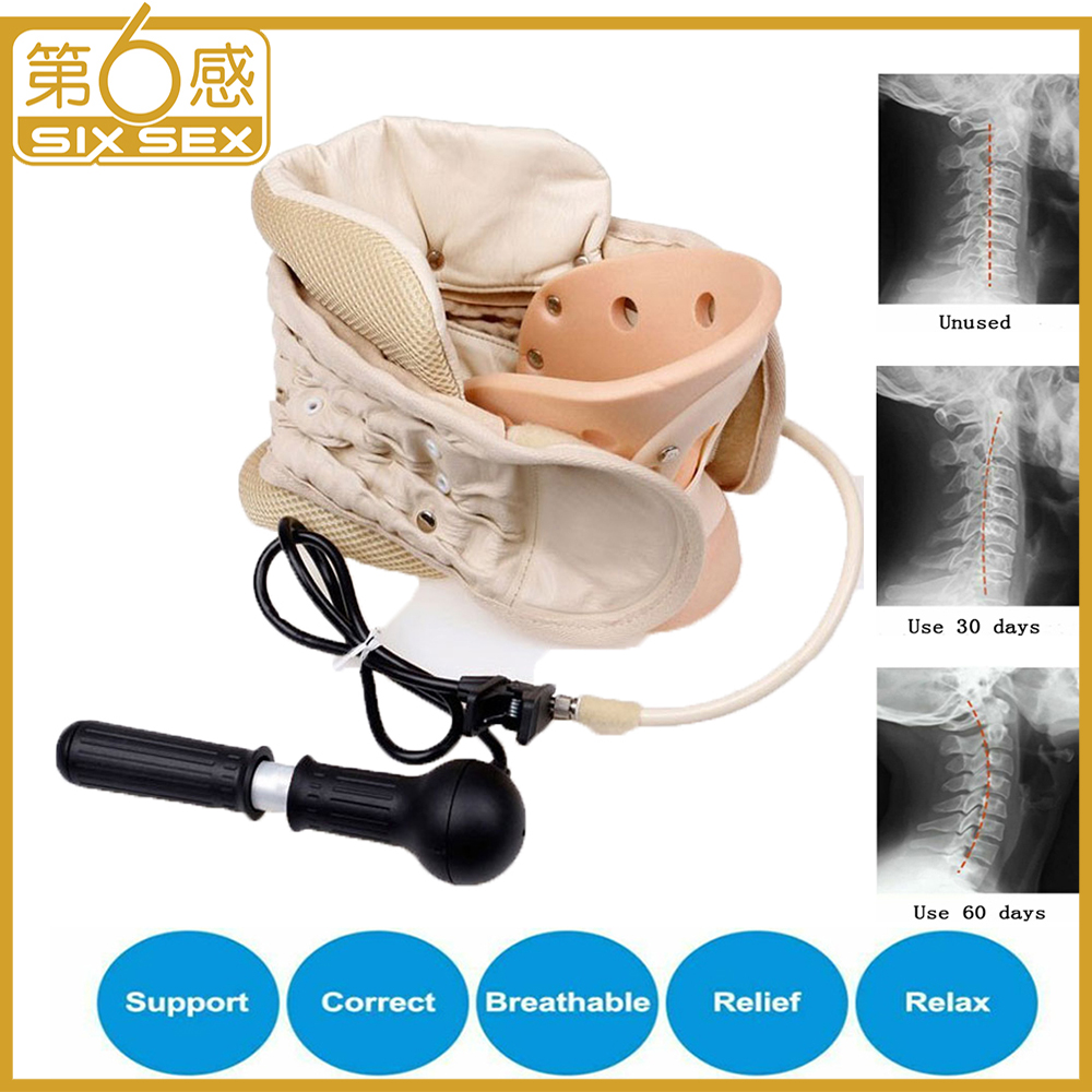 Air Inflatable Cervical Traction Device Collar Neck Massager Spine Correction Therapy Adjustable Stretcher Stretching Support