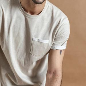 Image 5 - SIMWOOD Camiseta de verano con bolsillo en el pecho para hombre, camiseta de manga corta vintage Melange, camisetas de algodón 2020, novedad de verano de 100%