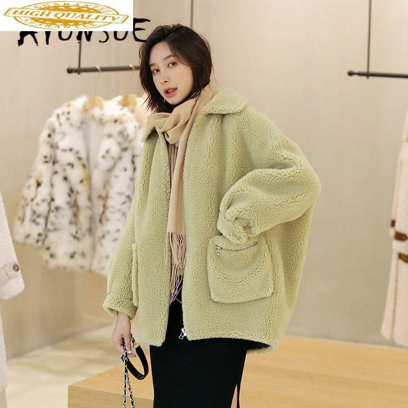 Autumn Winter Coat Women Clothes 2019 Sheep Shearing Real Fur Coat 100% Wool Jacket Women Korean Fashion Fur Tops 19522 YY2003