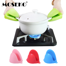 MOSEKO 1Pc Thicken Silicone Heat Resistant Gloves Clips Insulation Anti-slip Pot Bowel Holder Clip Cooking Baking Oven Mitts