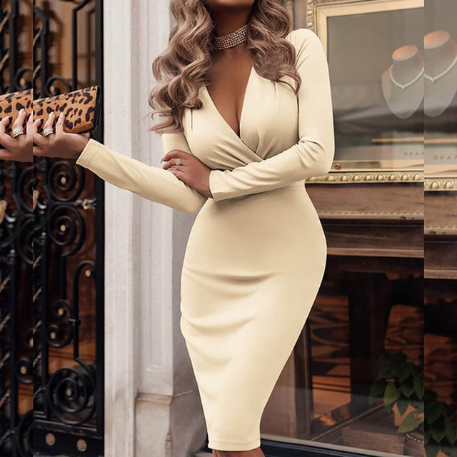 Women Sexy Dress Long Sleeve Deep V-neck Fit Work Dress Vintage Office Dresses Solid Color Party Dresses Elegant ropa mujer 2019