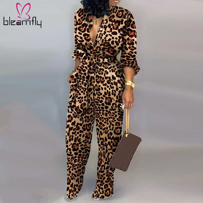 Autumn Winter Women Jumpsuits Full Sleeve Sashes Rompers V-Neck Wide Leg Camouflage Leopard Print Night Club Outfits Casual