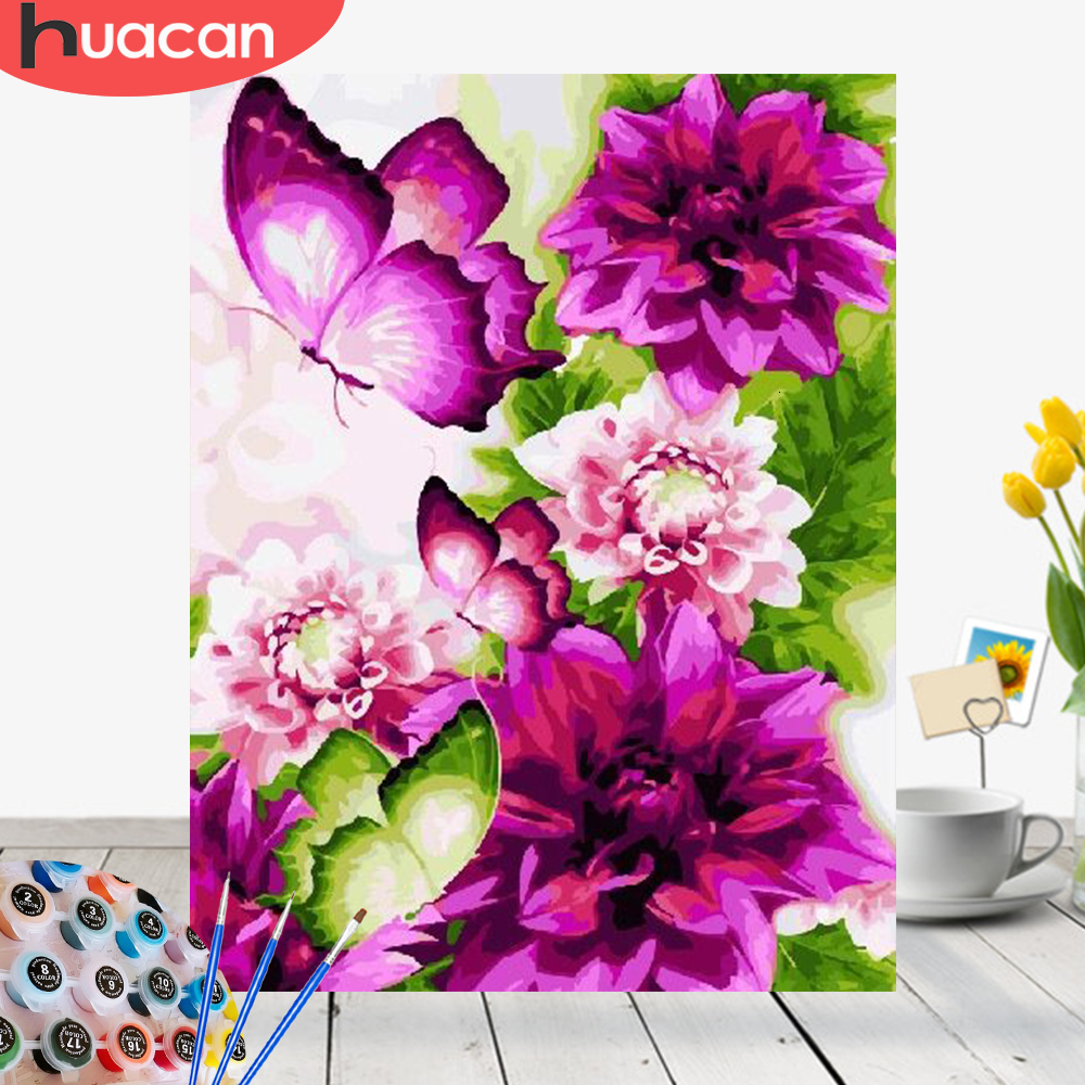 HUACAN Picture By Numbers Flower Butterfly HandPainted DIY Gift Drawing Canvas Oil Painting Kits Home Decoration