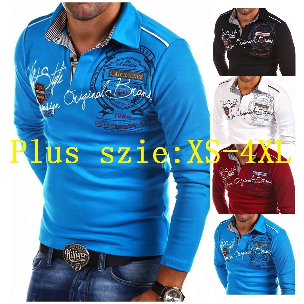 Zogaa Men   Polo   Shirt Long Sleeve Plus Size S-4XL Letter Printed Slim Fit Casual Shirts Mens Fashion Tops Tees Shirt   Polos   Man