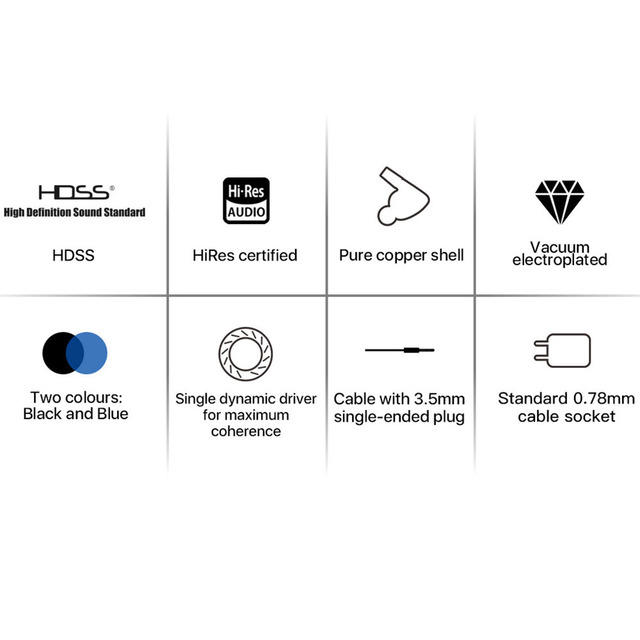 HiBy Seeds II HIFI Stereo Earphone IEM single dynamic driver Hi-Res HDSS with 0.78mm 2pins Detachable Cable