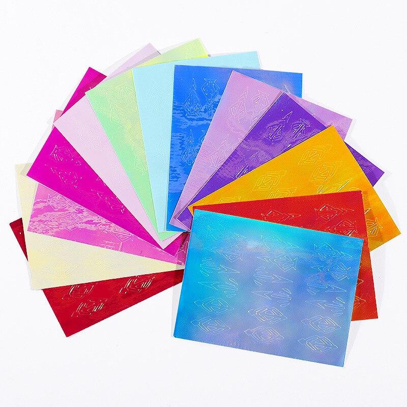 13Pcs-Set-Flame-Laser-Foil-Diamond-Shaped-Arrow-Pattern-With-Back-Glue-Sticker-3D-Holographic-DIY(2)