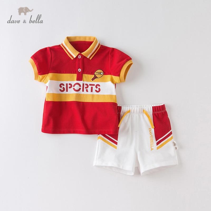 DBX14031 dave bella summer baby boys fashion cartoon letter clothing sets kids handsome short sleeve sets children 2 pcs suit
