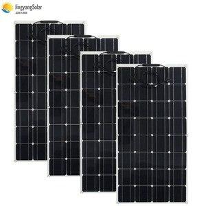 Image 3 - 中国柔軟なソーラーパネル 100 ワット 18v 太陽光パネルソーラーキャンプライト 12v バッテリー充電器、モノラル太陽電池オスとメスのコネクタ