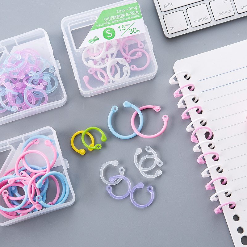 1SET DIY Albums Loose Leaf Book Binder Hinged Rings Multi-Function Colored Plastic Circle Ring Clips Office Binding Supplies