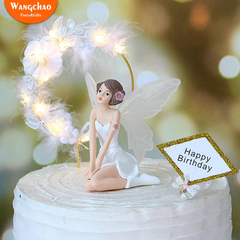 Fantastic Charming Angel Happy Birthday Cake Topper Attractive Angels With Funny Birthday Cards Online Elaedamsfinfo