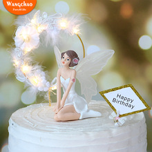 Charming Angel Happy Birthday Cake Topper Attractive Angels with Iron Garland Lace Feather Romantic Wedding Decoration