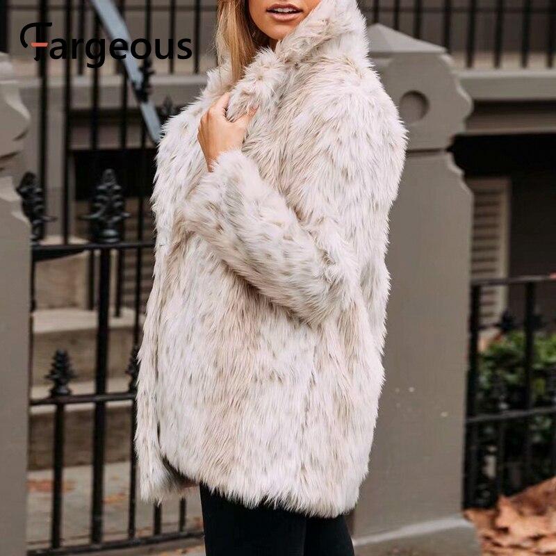 Image 2 - Leopard Luxury Faux Fur Coat Jacket 2019 Winter Warm Long Fur  Fluffy Teddy Jacket Fashion Streetwear Shaggy Coat OuterwearFaux Fur