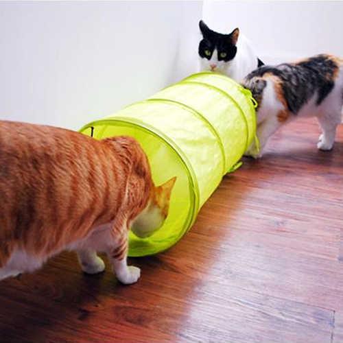 애완 동물 고양이 개 작은 접이식 터널 장난감 매달려 벨 decron 헝겊 침낭 2020