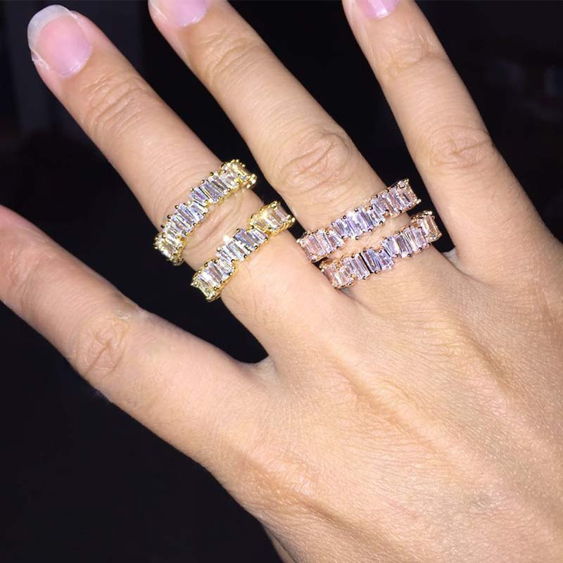 Fashion Rainbow Trapezoidal Stone Ring 1PC Handmade Crystal Engagement Zircon Bride Finger Accessories 3 Colors
