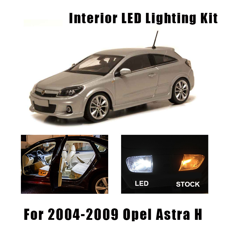 15 Bulbs White Canbus Car LED Interior Light Kit Fit For 2004-2009 Opel Astra H Map Dome Cargo Vanity Mirror Light