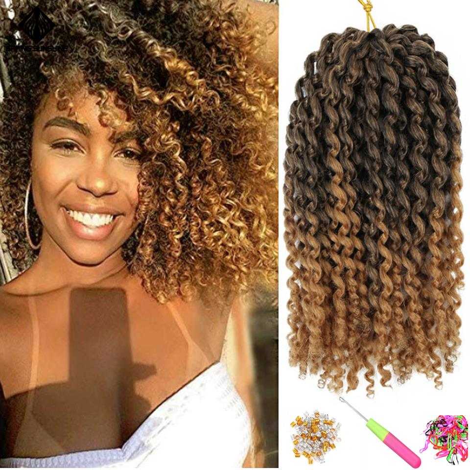 Spring Sunshine Ombre Bob Marley Braids Crochet Hair Braid Synthetic Jerry Curl Braiding Hair Extensions For Women 8inch 1PC