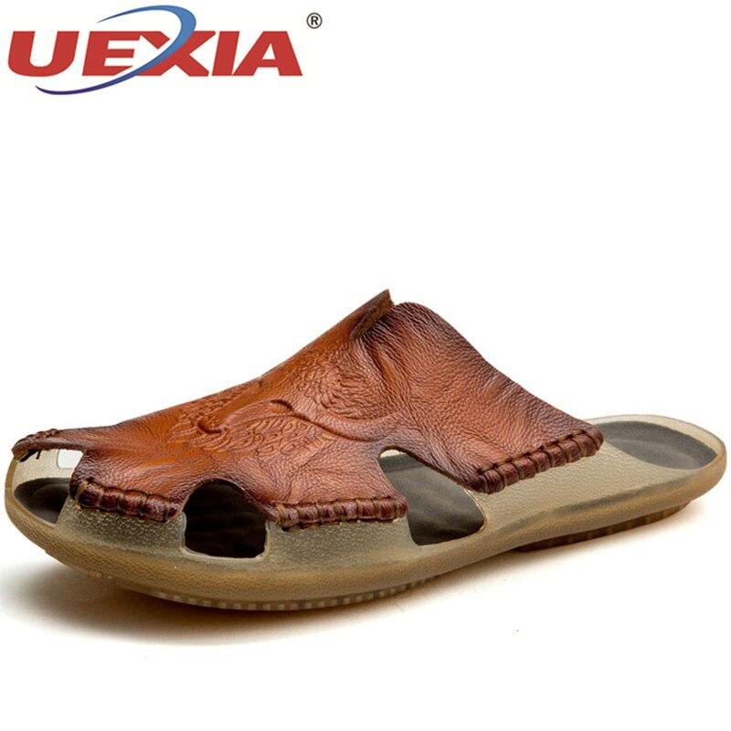 UEXIA Men Leather Summer Non-slip Mens Slides Outdoor Breathable Beach Slippers Shoes Men Flip Flops Footwear Sandalias Big Size