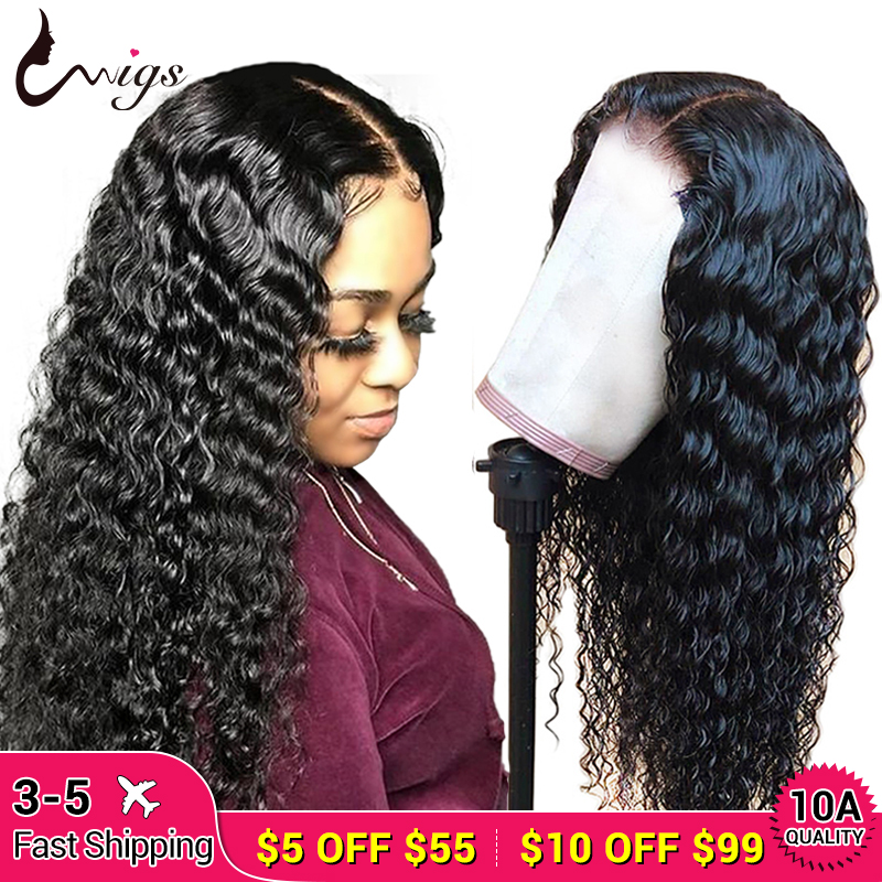 Uwigs 13x6 Lace Front Human Hair Wigs180% Density Pre Plucked With Baby Hair Peruvian Lace Front Deep Wave Wig For Black Women