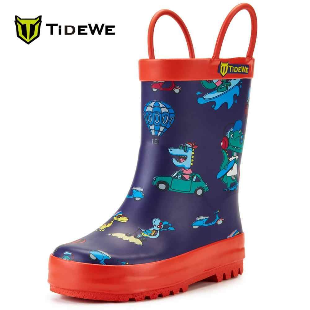 Tidewe Kawaii Leuke Cartoon Patroon Waterdichte Laarzen Lichtgewicht Rubber Regen Laarzen Met Easy-On Handvat Voor Kids Peuters Kinderen