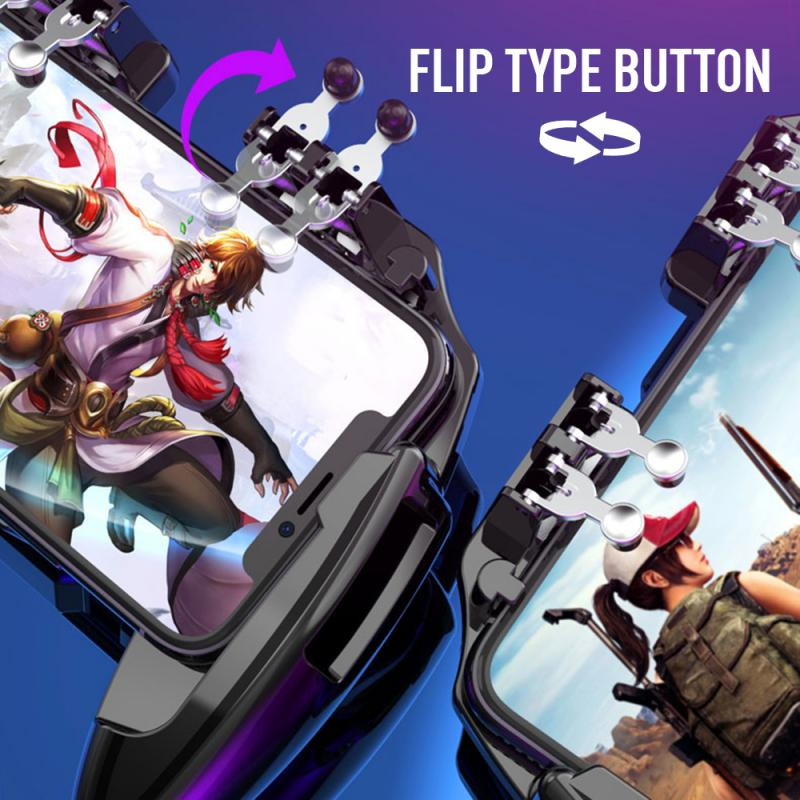 PUBG Mobile Joystick Controller Turnover Button Gamepad for PUBG iOS Android Six 6 Finger Operating Gamepad With Cooling Fan 5