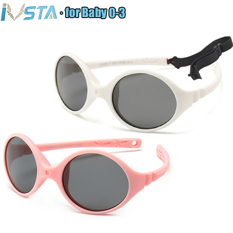 IVSTA 0-3 Newborn Baby Sunglasses Small with Rope Kids Girls No Screw Unbreakable Rubber TR90 Silicone Frame Polarized Lenses
