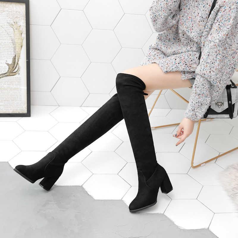 KARINLUNA ใหม่ขายส่งเซ็กซี่เข่าสูงรองเท้าผู้หญิง 2019 Elegant Black LACE-up รองเท้าผู้หญิงรองเท้าส้นสูงรองเท้าผู้หญิง