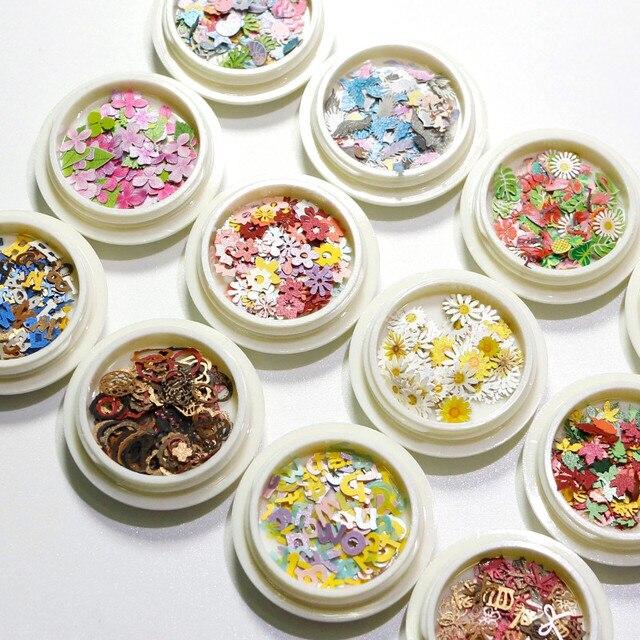 Nail art decorations Nail accessories  Daisy flowers and leaves  Mixed nail pastes  Ultra thin nail veneer  3Dnail art 1box