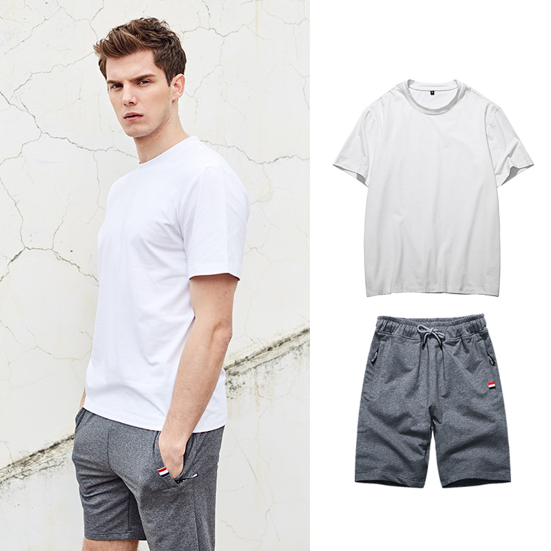 New Style Summer MEN'S Sports Suit MEN'S Short-sleeved T-shirt Shorts Two-Piece Set Fashion Leisure Suit