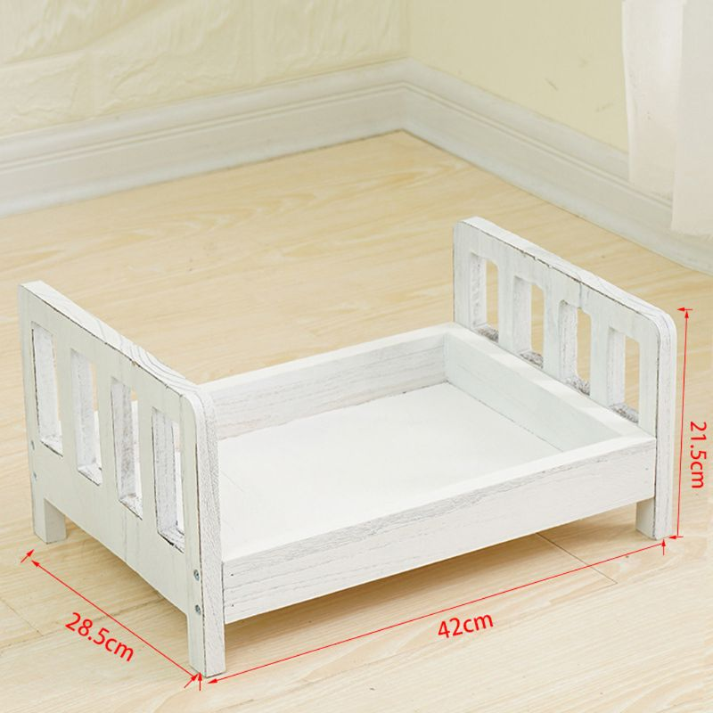 OOTDTY Newborn Photography Props Wood Bed Infant Poses Detachable Background Props Wood Bed