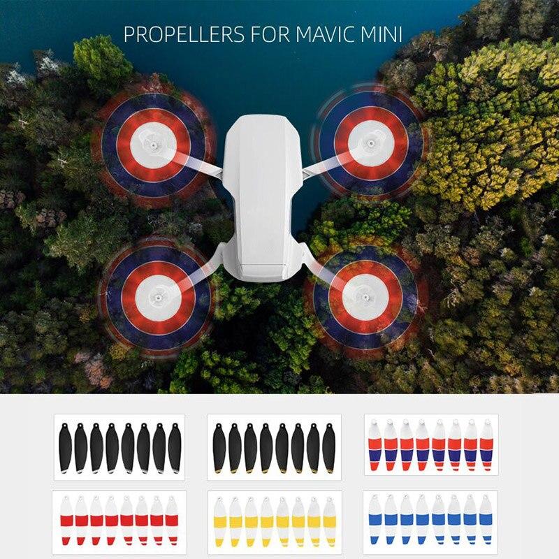 8 pçs lâminas de hélice de liberação rápida dobrável baixo ruído hélices para dji mavic mini rc drone acessórios