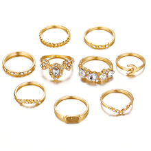 2019 Vintage Finger Ring Set Antique Hollow Out Bohemian Midi Gold Color Crystal Ring Female Jewelry hollow out rhinestone ring