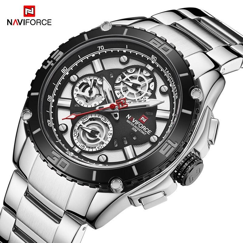 NAVIFORCE Luxury Brand Watch Men Military Sports Quartz Wristwatches Waterproof Casual Stainless Steel 24 Hour Clock Male 2020