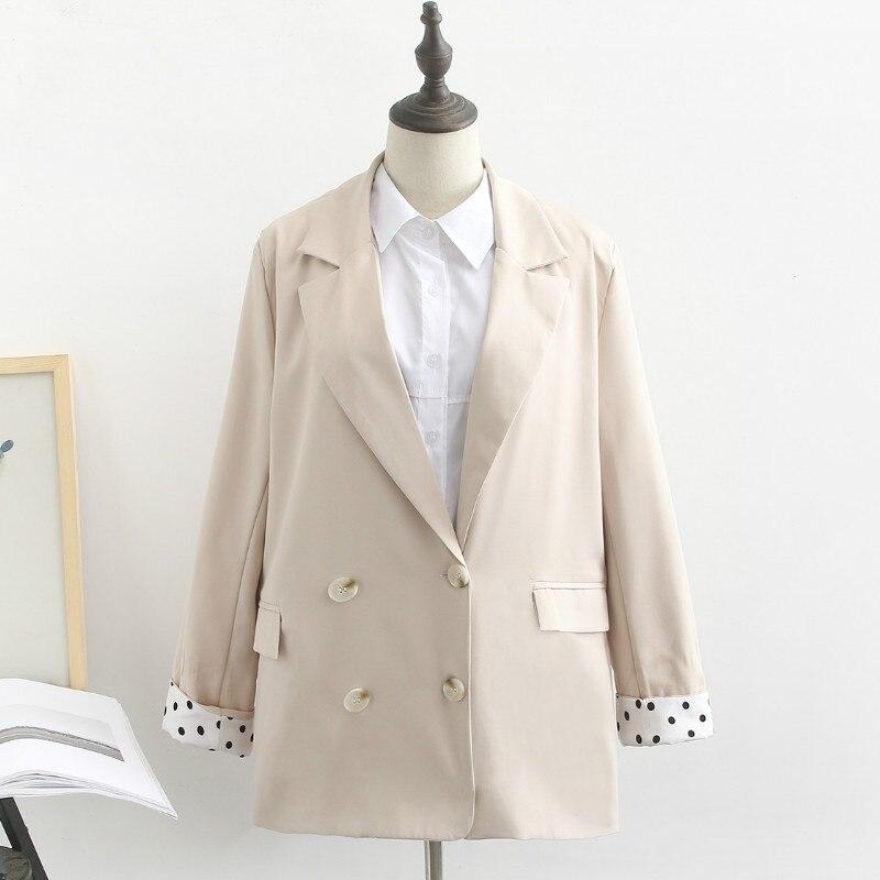 Large Size Autumn Women's Clothing 2019 Casual Fashion Loose Apricot Suit Jacket Female Elegant Women's Blazer Office Top XL-4XL