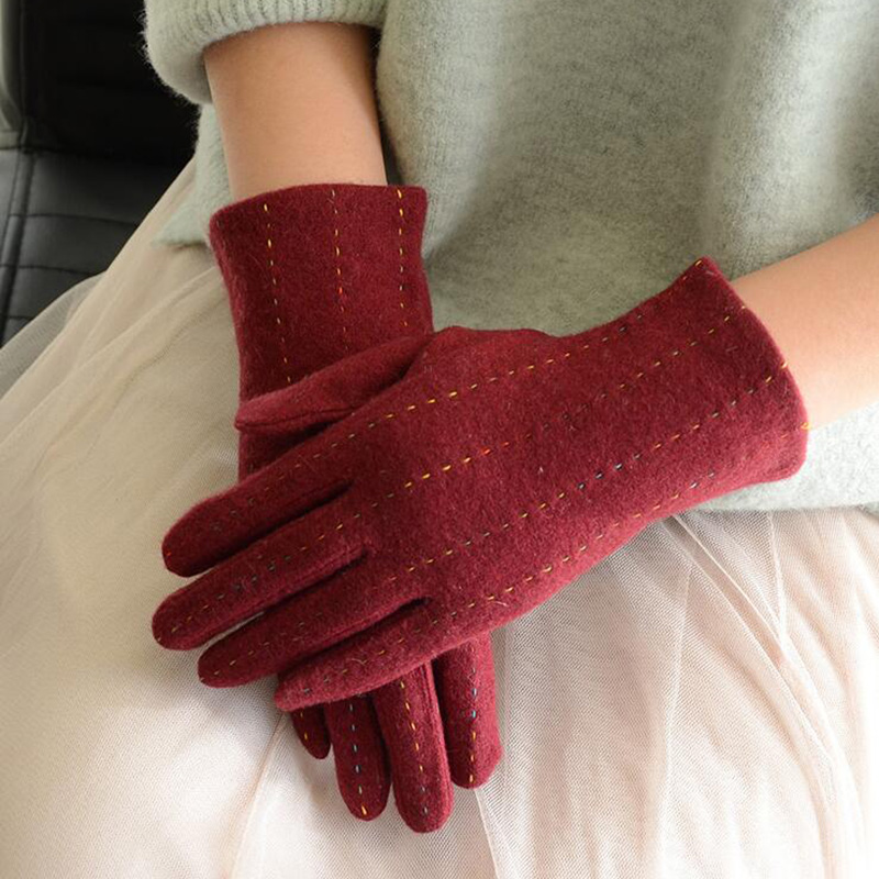Women Touch Mitten Gloves Winter Women Warm Cashmere Full Finger Leather Bow Gloves Wool Embroidery Touch Screen Gloves C25