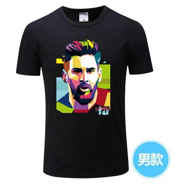 2020 camisa masculina do algodão dos homens do camiseta de messi do barcelona dos fãs lionel messi t camisa 100%