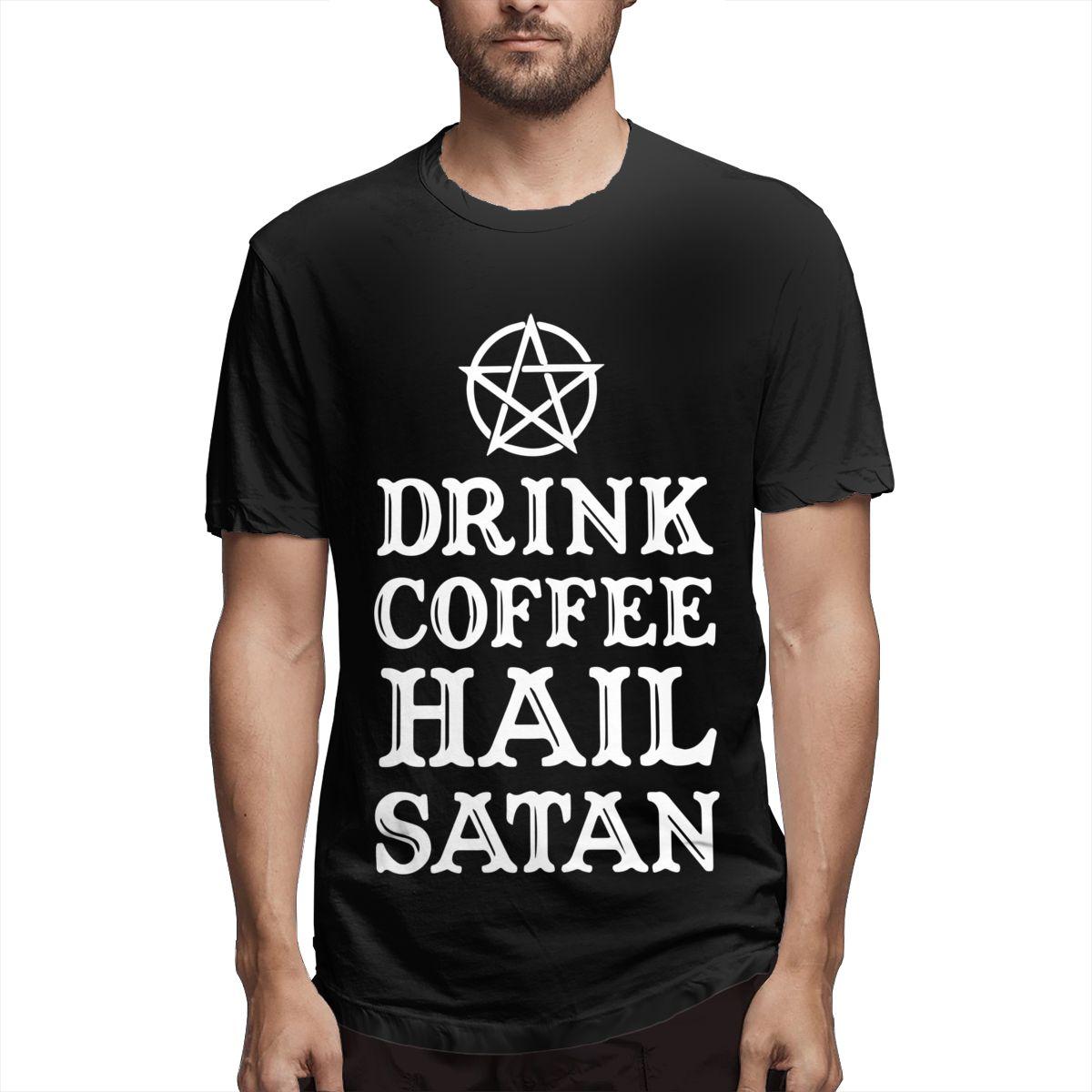 Hip Hop 2020 New Men T-shirts Casual Harajuku Drink Coffee Hail Satan Printed Tees T Shirt Short Sleeve T Shirt For Men Clothing