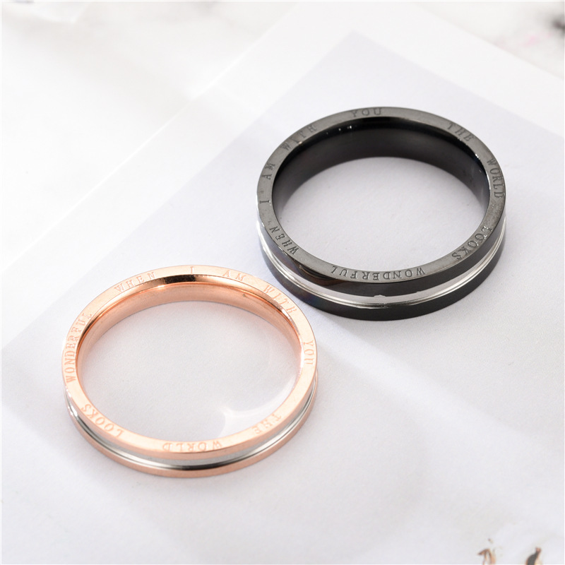 Alliage argent anneau bijoux accessoires bague de fiançailles anneaux pour amoureux en acier inoxydable anneau Simple et élégant Couple anneaux - 3
