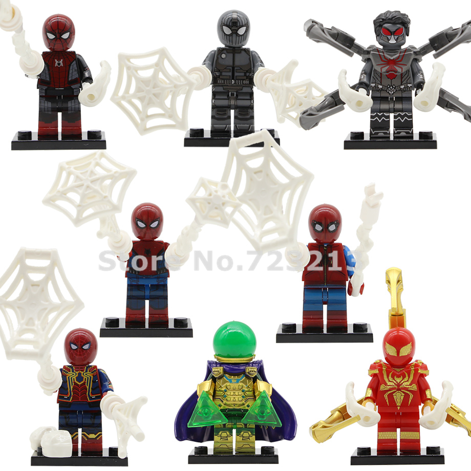 Spider Man Far From Home Figure Marvel Super Heroes Spiderman Mysterio Peter Parker Spider-Man Building Blocks Toys WM6071