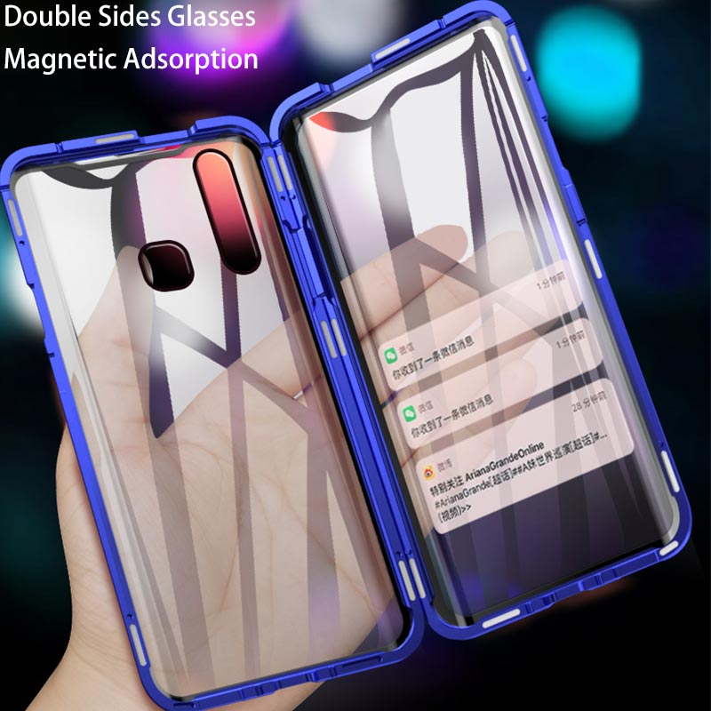 Double Side Front+Back Glasses Magnetic <font><b>Case</b></font> For <font><b>Vivo</b></font> Z1 Pro Z5X Z5 Y7S Y17 Y15 Y12 <font><b>Y3</b></font> Y95 Y91 Y93 V15 V17 Pro V9 Y85 V11i Cover image