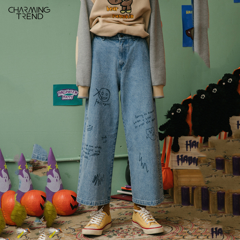 Cartoon Graffiti Women's Cute Jeans Wide Leg Autumn Winter Straight Capris Loose Denim Pants Female Student Jeans Pants Women