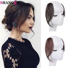 SHANGKE – extensions de cheveux humains pour femmes, frange latérale, noir, brun, postiche frontale, avec Clip